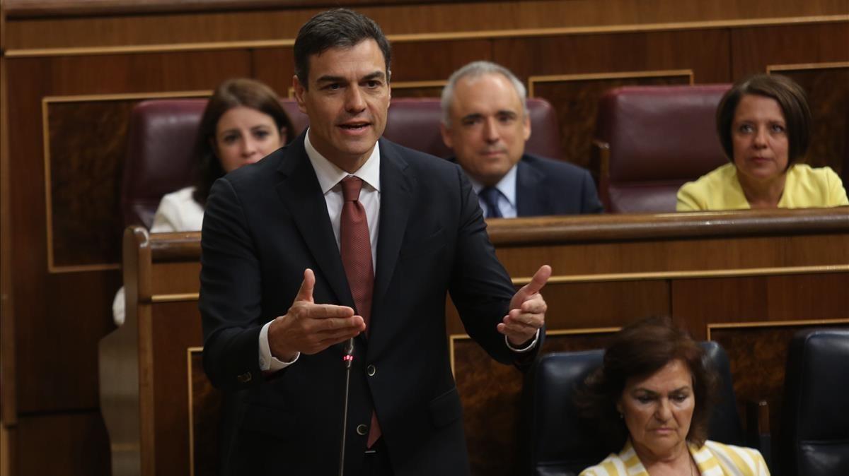 El presidente del Gobierno, Pedro Sánchez, durante su intervención.