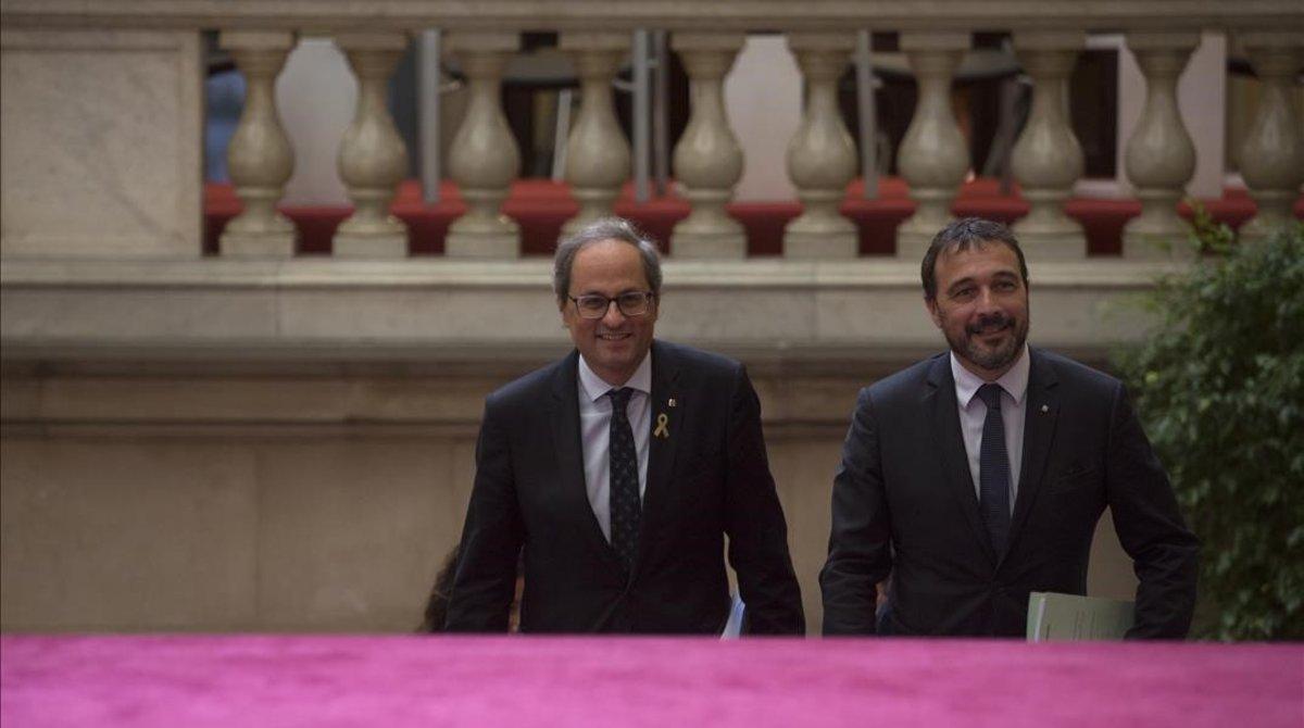 Quim Torra y Josep Rius, en el Parlament.