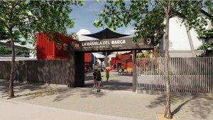 Imagen de la puerta de la nueva Rambladel Barça.