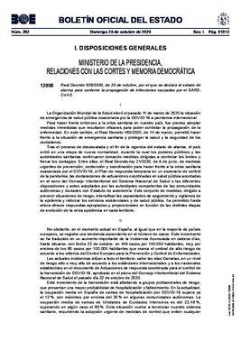 Real decreto 926/2020, de 25 de octubre, de declaración del estado de alarma en todo el país para contener el avance del coronavirus.