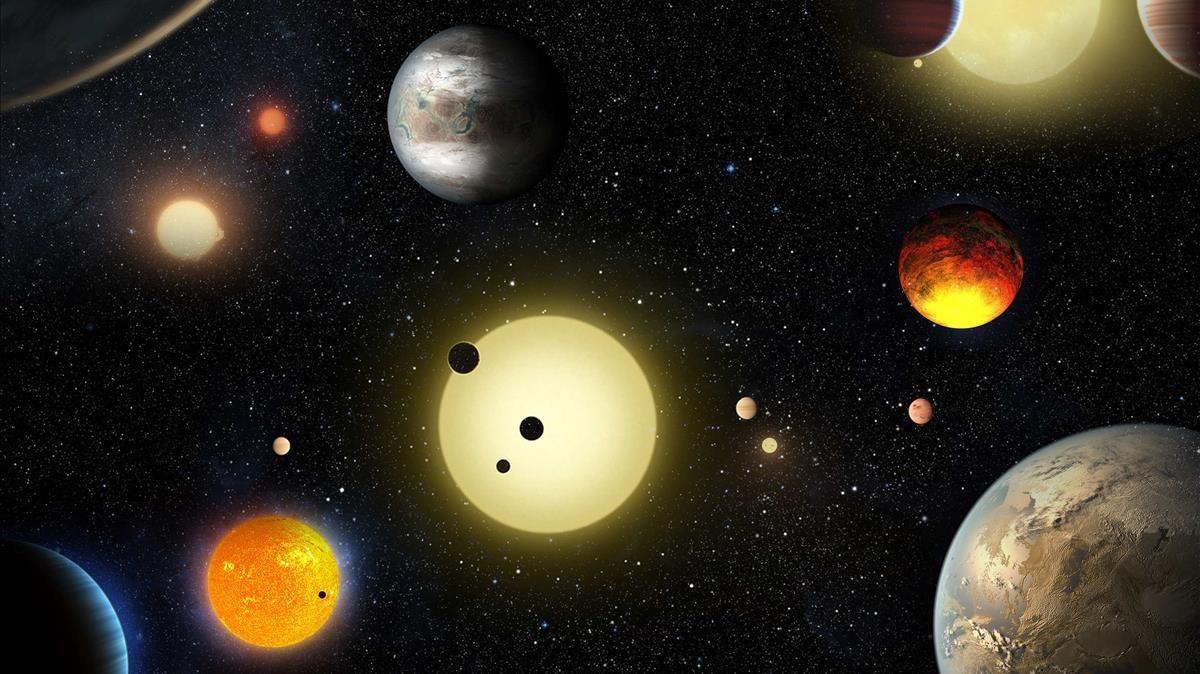 Recreación artística de planetas descubiertos por el telescopio Kepler de la NASA a mayo del 2016.