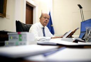El ministro de Justicia, Juan Carlos Campo, en su despacho en el Ministerio, en Madrid (España), a 18 de septiembre de 2020.
