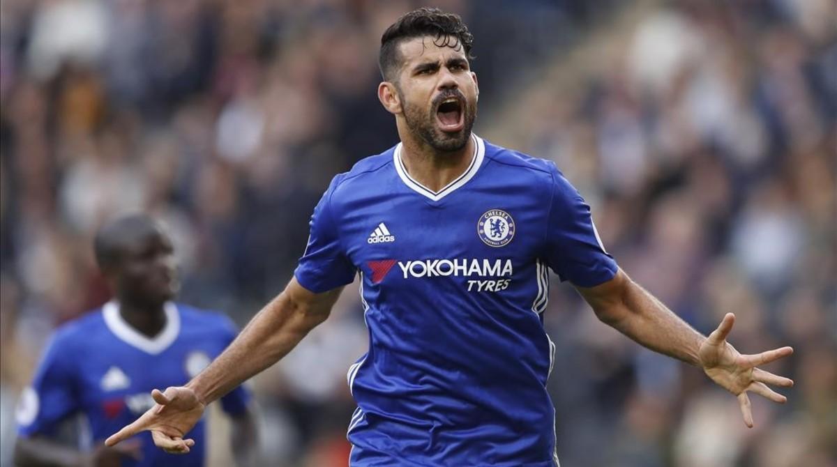 Diego Costa celebra un gol con el Chelsea.