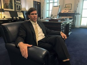Secretary of the US Army Mark Esper speaks to reporters in his office at the Pentagon in Washington DC  -  Photo by Thomas WATKINS   AFP