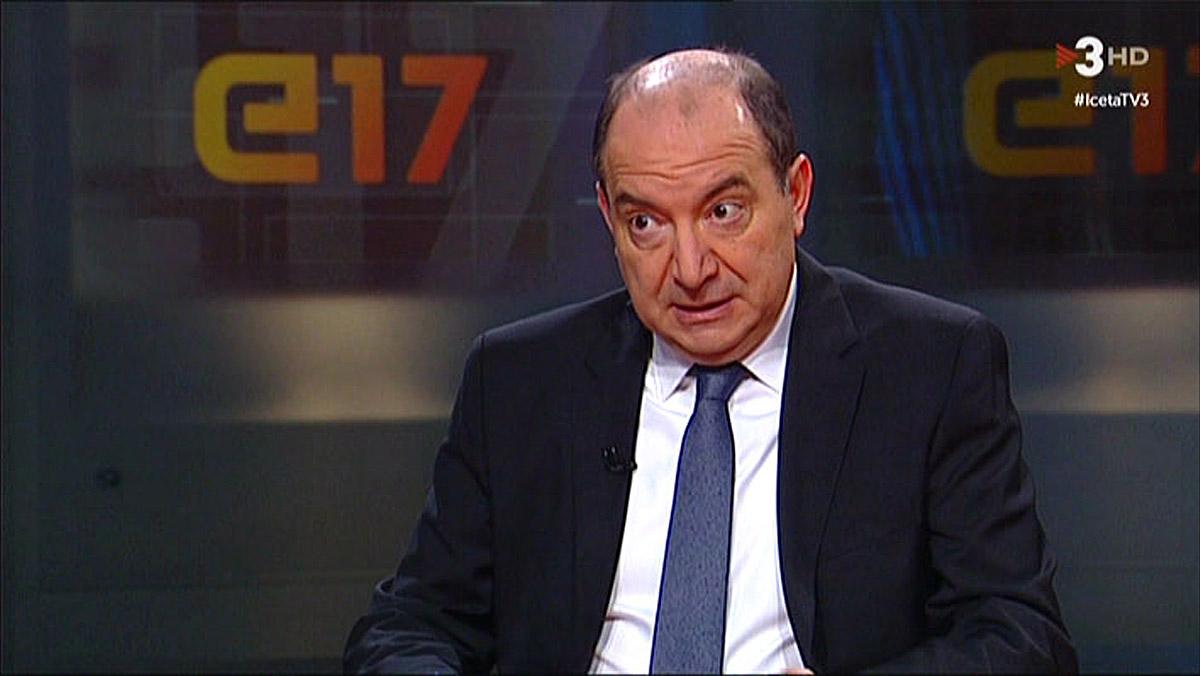 Vicent Sanchis, en su entrevista a Miquel Iceta, en TV-3.