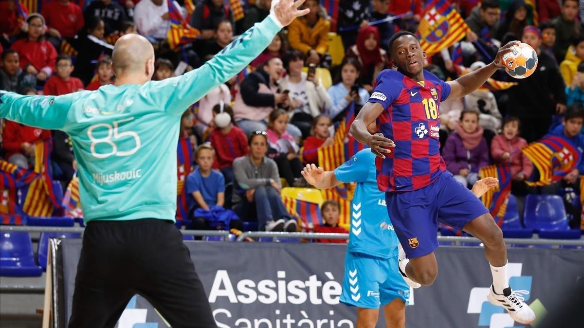 Soumaré, poco habitual en el primer equipo del Barça, marca ante el Lieberbank.