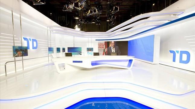 Imatge del nou plató dels Telediarios de TVE.
