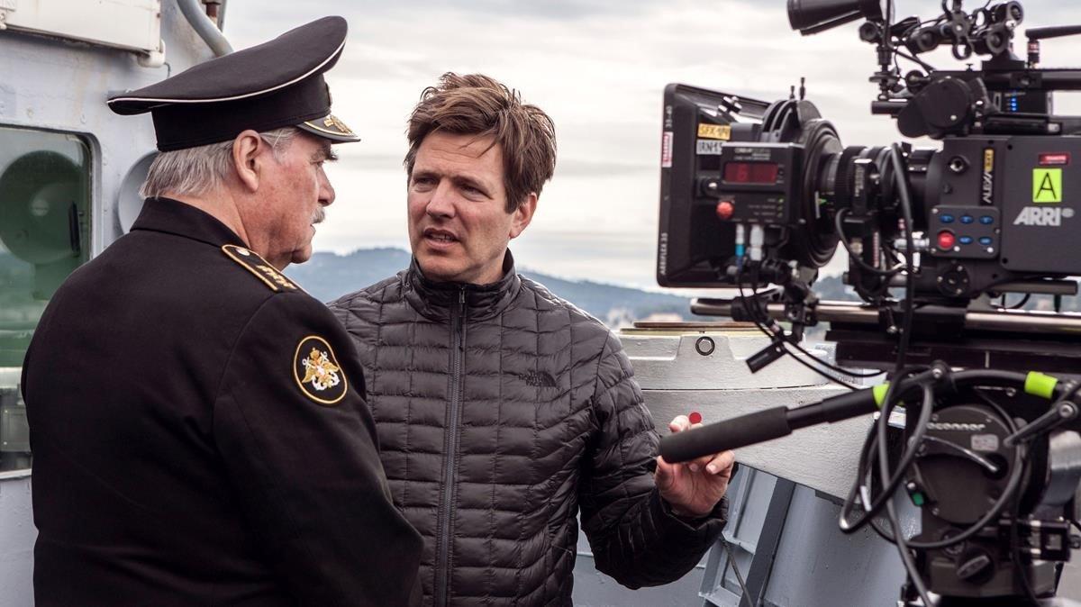 Thomas VInterberg, durante el rodaje de su película Kursk