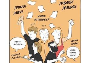 Una de las ilustraciones de Lucreativo que forman parte del libro de 'Soy camarero. El cliente NO siempre tiene la razón'.