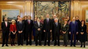 EL rey Felipe, este martes en la Zarzuela, recibe en audiencia a la junta directiva de la Asociación de exdiputados y exsenadores de las Cortes Generales.