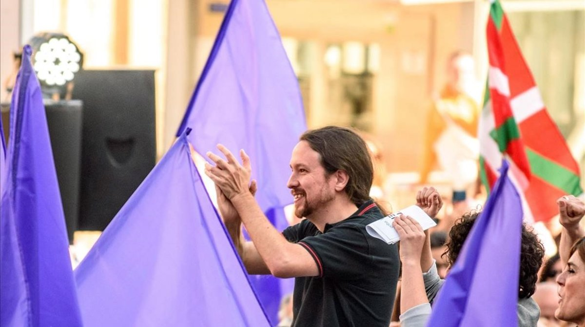 El candidato de Unidas Podemos al Congreso de los Diputados, Pablo Iglesias, en un mitin en Bilbao