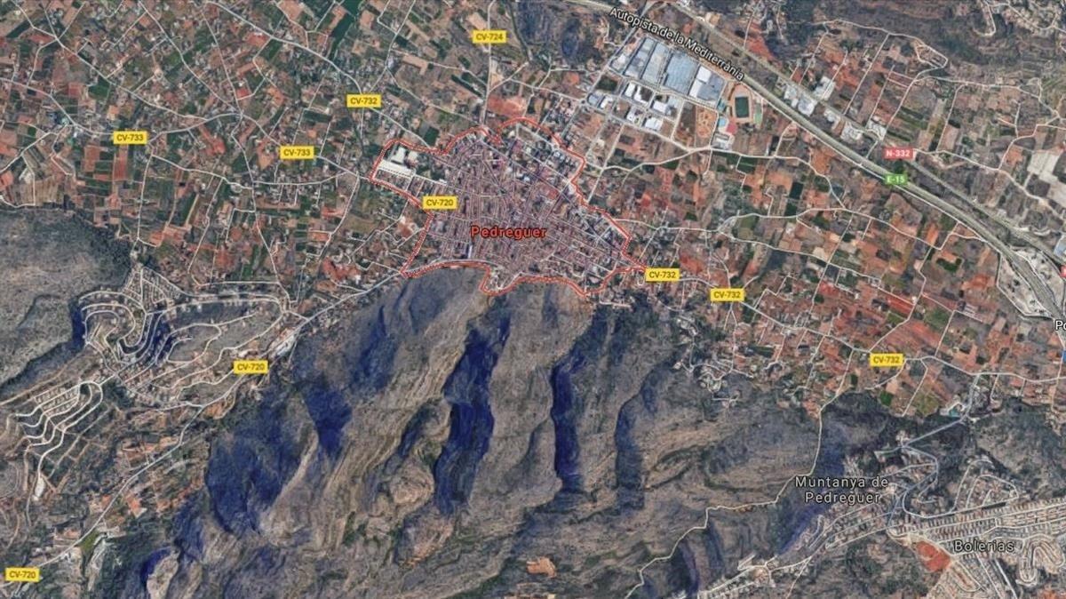 Vista aérea de Pedreguer, en Alicante.