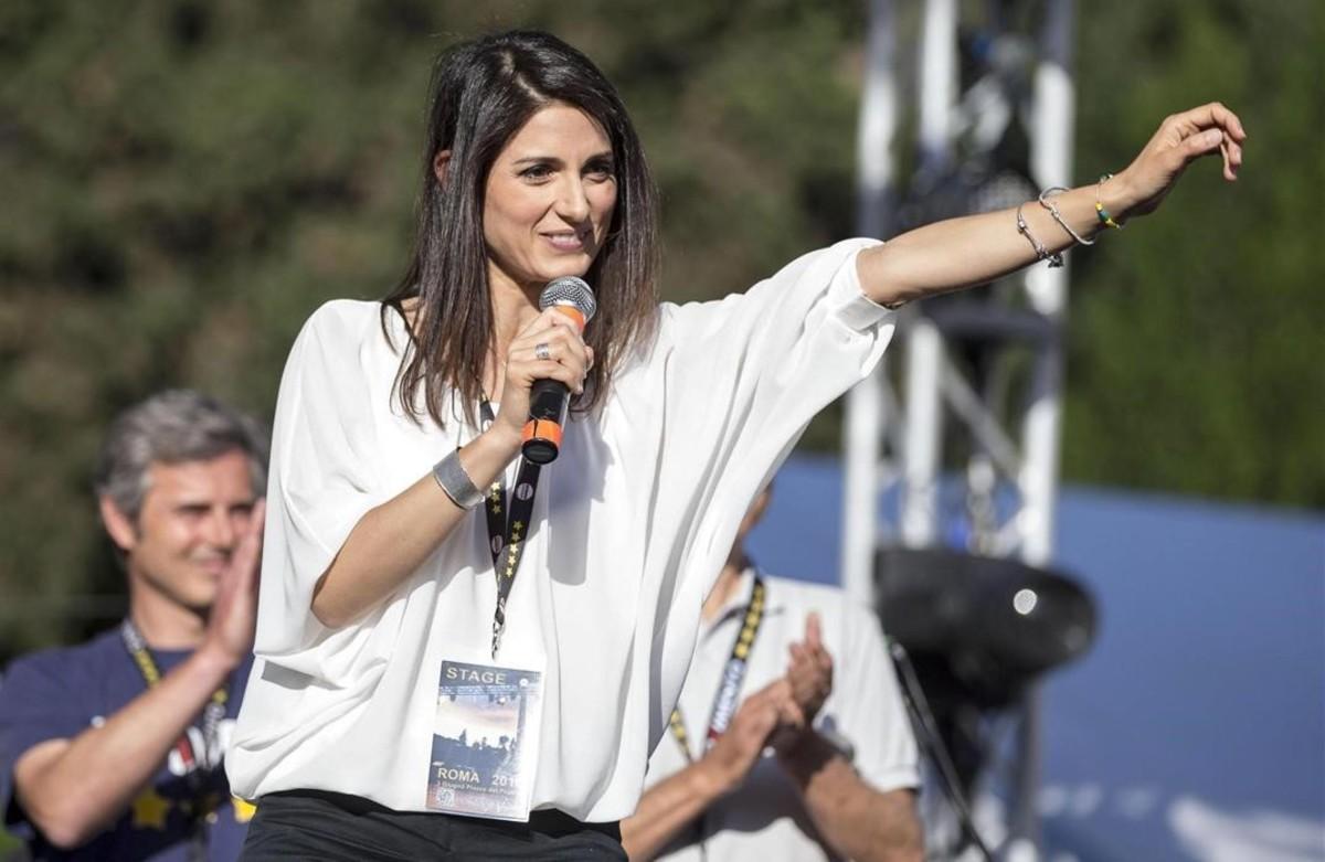 Virginia Raggi en un acto electoral el pasado 3 de junio en Roma.