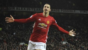 Zlatan Ibrahimovic celebra un gol con el Manchester United contra el Sunderland.