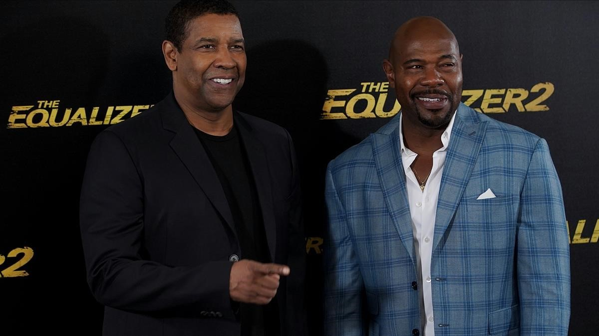 Denzel Washington y Antoine Fuqua, en Madrid, esta semana.