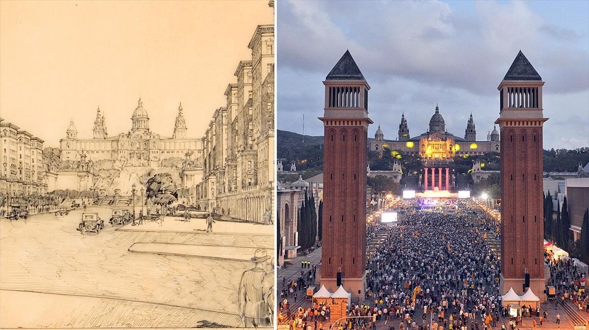 El proyecto de Jaume Torres i Grau para la avenida Maria Cristina, tras la Exposición Internacional del 29; y la imagen actual.