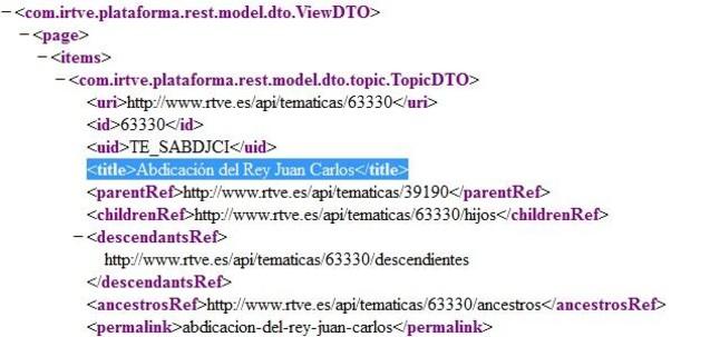 El código fuente de la web de RTVE donde se lee Especiales/Abdicación del Rey Juan Carlos.