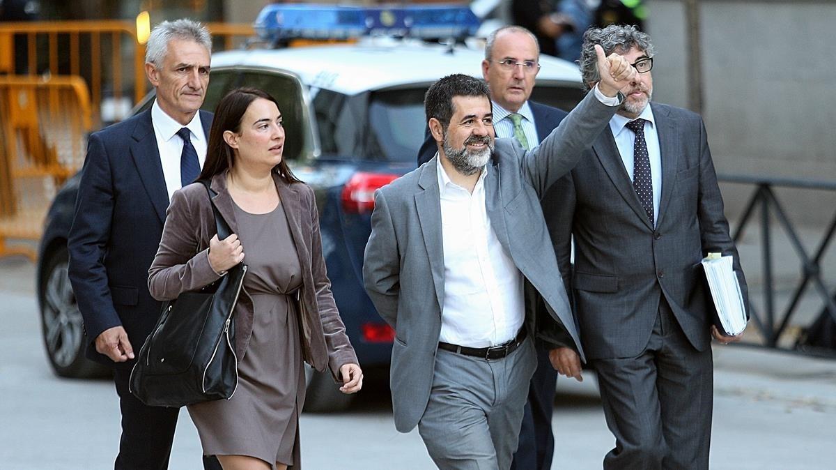 Jordi Sànchez a la llegada de la Audiencia Nacional.
