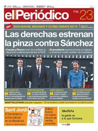 La portada d'EL PERIÓDICO del 20 d'abril del 2019