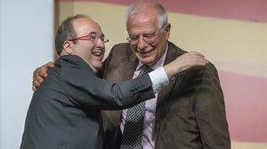 Acto electoral del PSC en Hospitalet con Miquel Iceta y Josep Borrell.