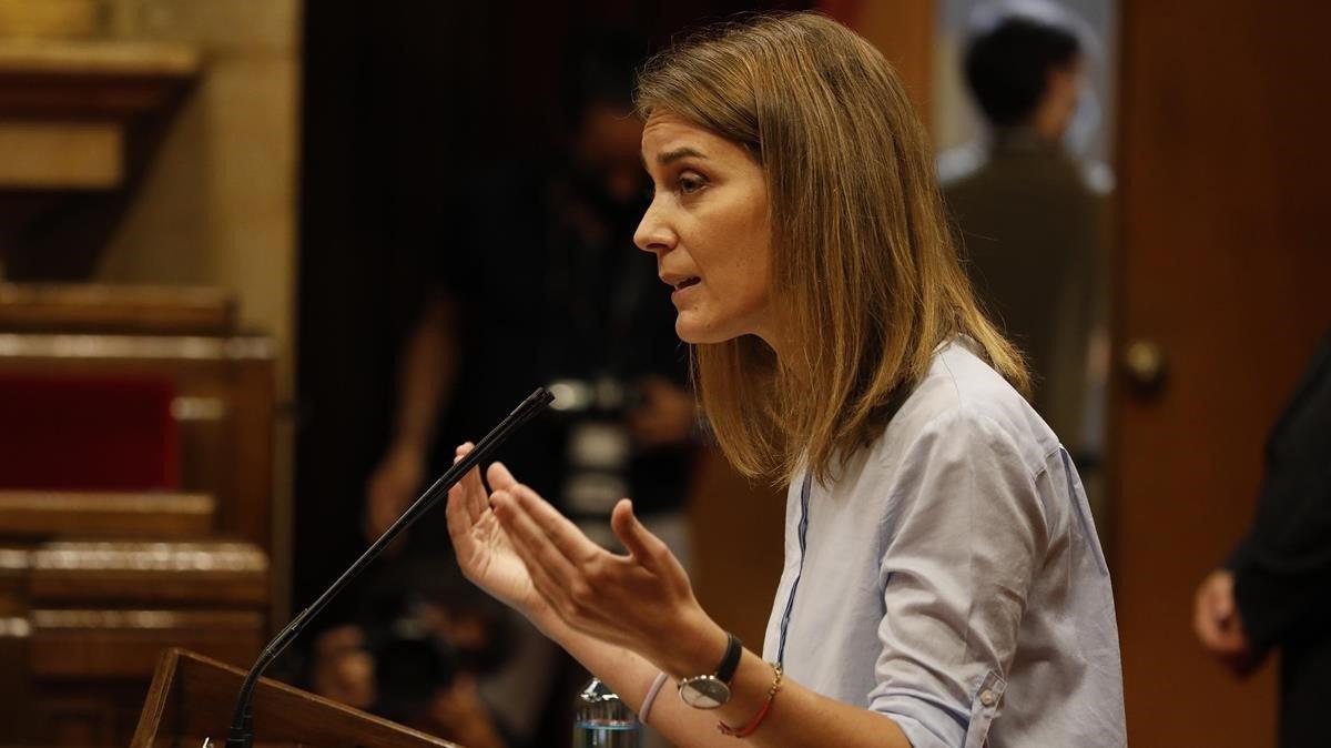 Jessica Albiach durante su intervención en eldebate de política general en el Parlament
