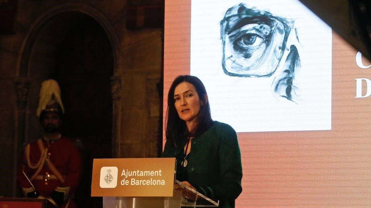 Ángeles González-Sinde, este martes en el Saló de Cent del Ayuntamiento de Barcelona.