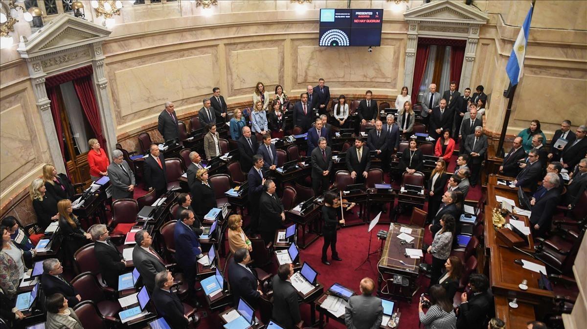 Vista del Senado de Argentina durante el debate sobre la despenalización del aborto.