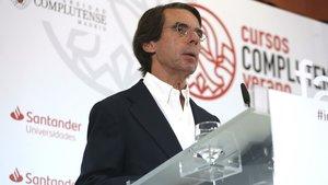 Aznar, durante la inauguración del curso de verano FAES en el Real Centro Universitario Escorial-María Cristina, en San Lorenzo de El Escorial, el 1 de julio pasado.