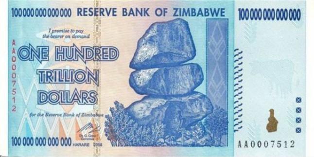 Billete de 100 trillones de dólares de Zimbabue.