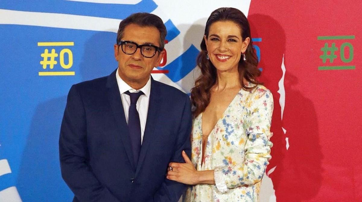 Andreu Buenafuente y Raquel Sanchez-Silva, en la presentación de #0, el canal de referencia de la plataforma de televisión de pago Movistar+.