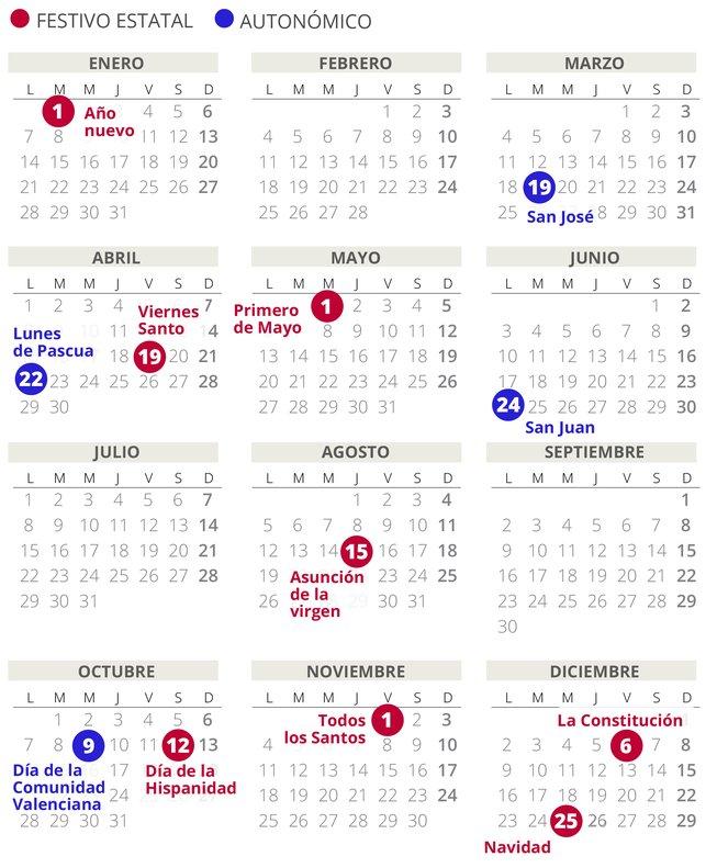 Calendario laboral de la Comunidad Valenciana del 2019 (con todos los festivos)