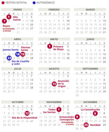 Calendario laboral de Castilla y León del 2019 (con todos los festivos)