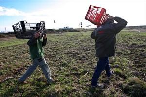 Campesinos trabajando en el campo.