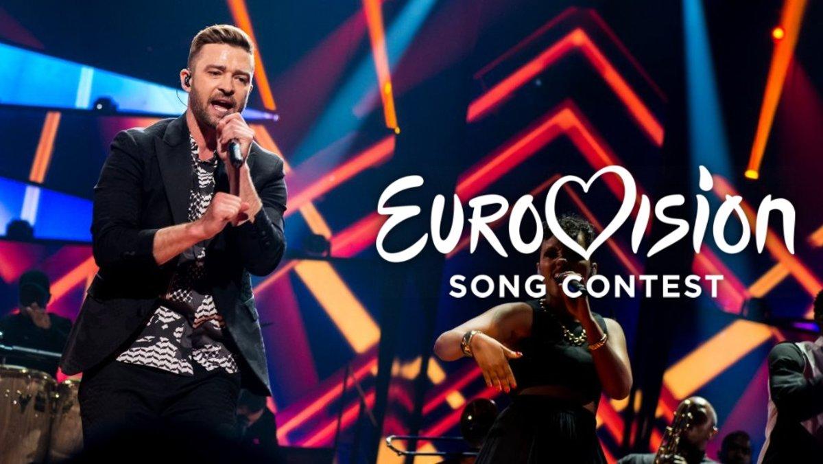 El cantante norteaméricano Justin Timberlake actuando en Eurovisión 2016.
