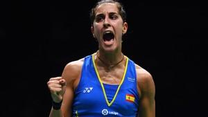 Carolina Marín jugando el Campeonato Mundial de bádminton del 2018.