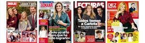 Las primeras páginas de las revistas¡Hola!, Semana, Lecturas y Diez Minutos.