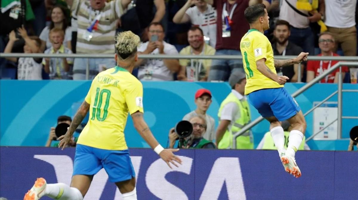 Coutinho celebra su golazo frente a Suiza.