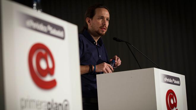 Pablo Iglesias, líder de Podem, assisteix als debats electorals del Fòrum Primera Plana.