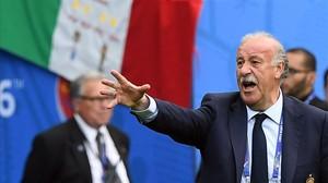 Del Bosque, durante el partido entre España e Italia del pasado lunes en el Eurocopa de Francia.