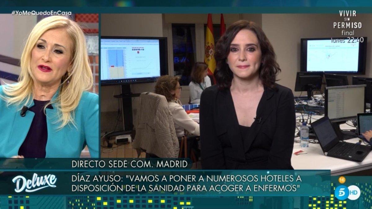 El 'Deluxe' entrevista a Isabel Diaz Ayuso por el coronavirus y provoca su reencuentro con Cristina Cifuentes