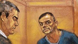 Dibujno de uno de los interrogatorios durente el juicio a El Chapo.