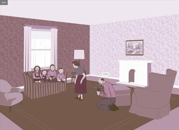 Doble página del cómic Aquí, de Richard McGuire.