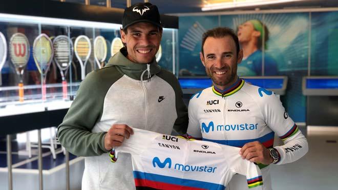 Encuentro entre Rafa Nadal y Alejandro Valverde.
