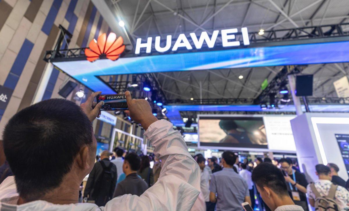 Estand de Huawei en una feria tecnológica.