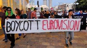 Pancartas en Tel Aviv que piden el boicot al certamen de Eurovión 2019.