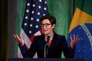 FILE PHOTO: Citigroup Latin America CEO Jane Fraser addresses a Brazil-U.S. Business Council forum to discuss relations and future cooperation in Washington, U.S. March 18, 2019. REUTERS/Erin Scott/File Photo