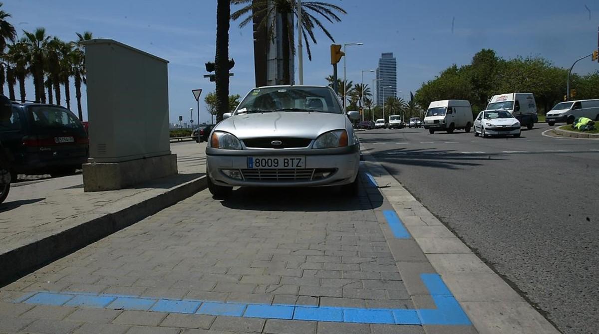 Zona azul en la Vila Olímpica.