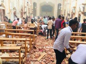 La iglesia deSt.Sebastian tras el ataque bomba en Sri Lanka.