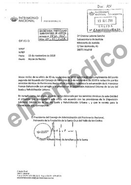 Informe técnico elaborado por Patrimonio Nacional para la exhumación de Franco.