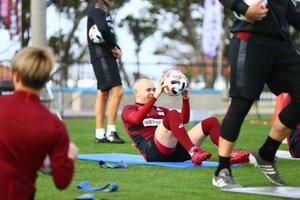 Andrés Iniesta, durante un entrenamiento en Japón.